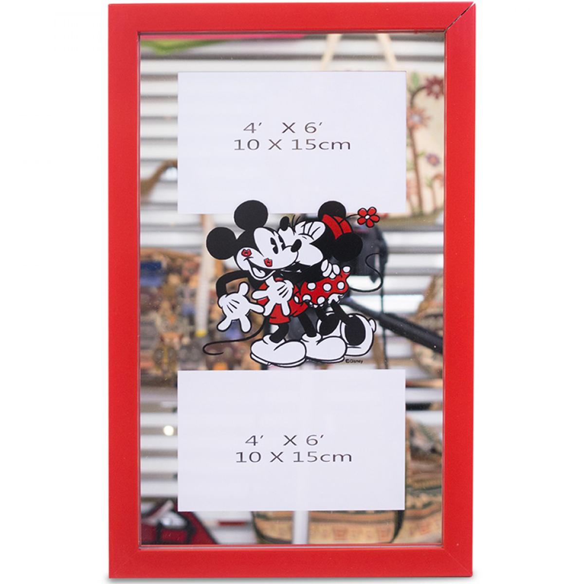 Porta Retrato Espelho Moldura Vermelha Para 2 Fotos 10X15cm Mickey & Minnie - Disney