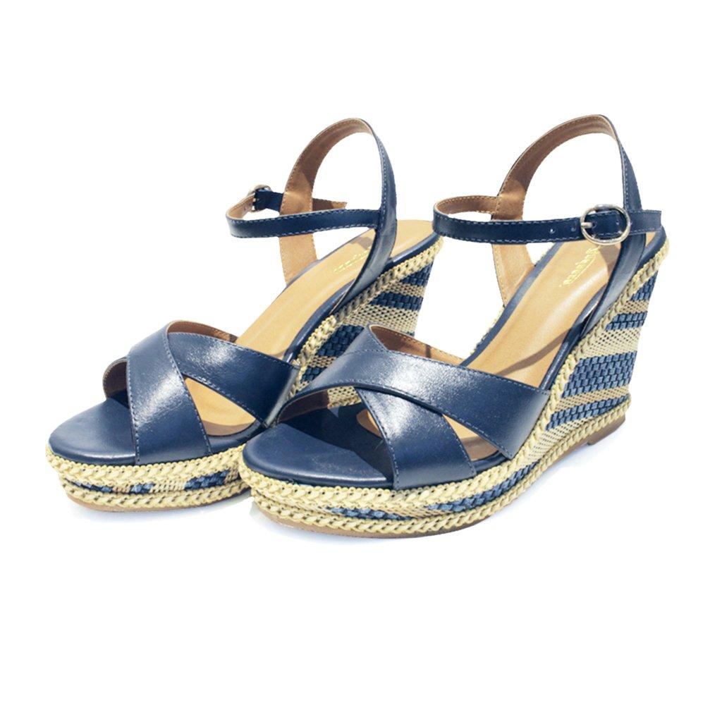 Sandália Plataforma em Couro Andanza Marinho Jeans Dourado CAT049