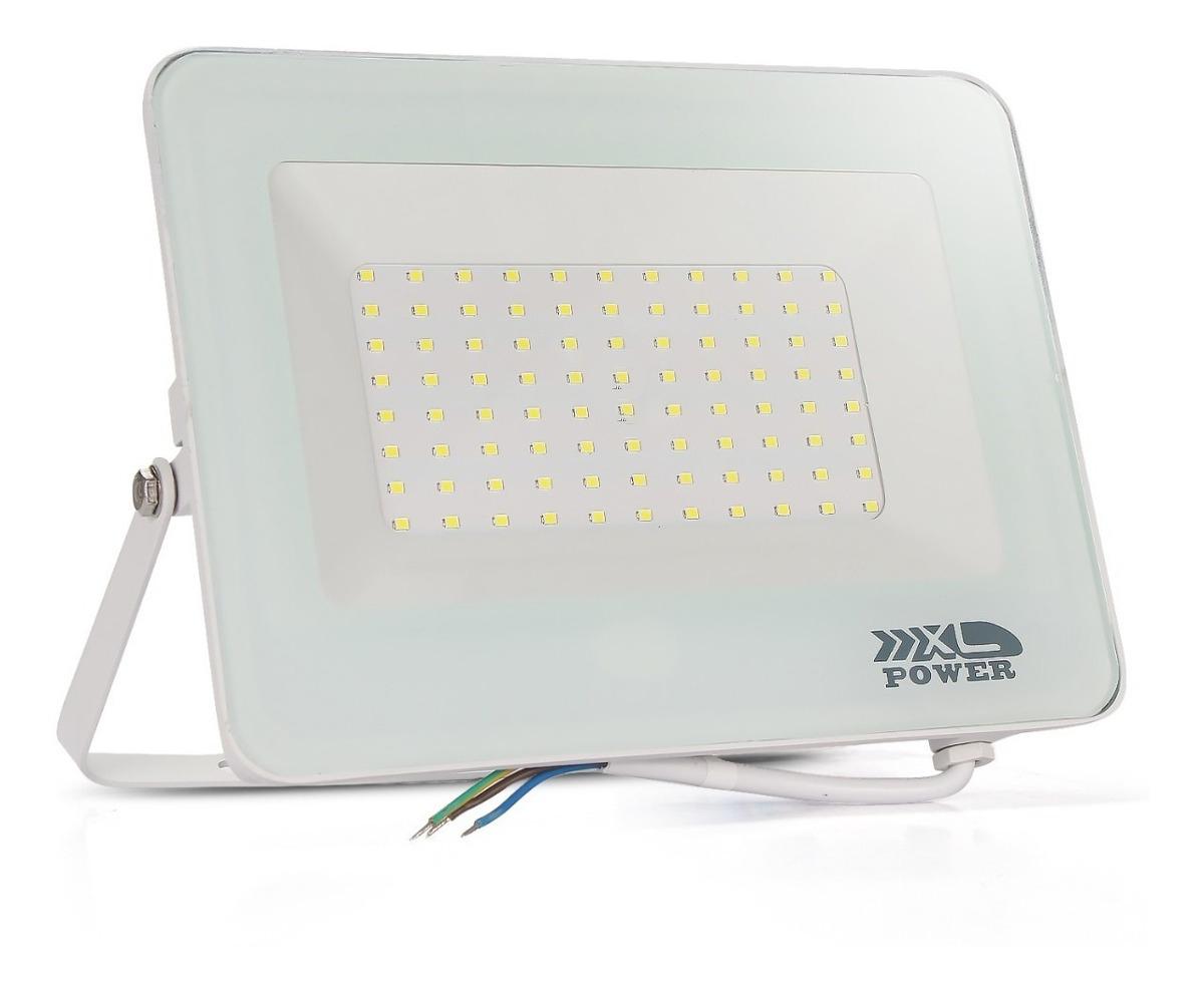 Refletor Holofote LED Slim SMD  100W  Branco Frio  Carcaça Branca
