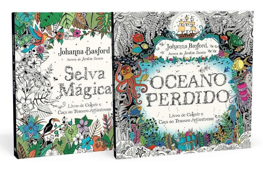 Kit Selva mágica e Oceano perdido - Livros de colorir e caça ao tesouro antiestresse