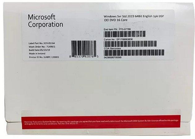 Licença Microsoft Windows Server 2019 Standard OEM