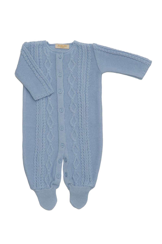 Macacão George Babubô Azul Bebê Saída Maternidade Tricô