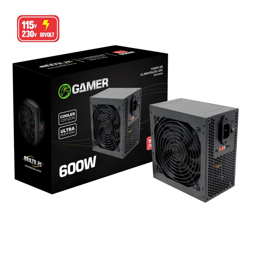 Fonte de Alimentação ATX Gamer Real 600W 115v 230v - Brazil PC