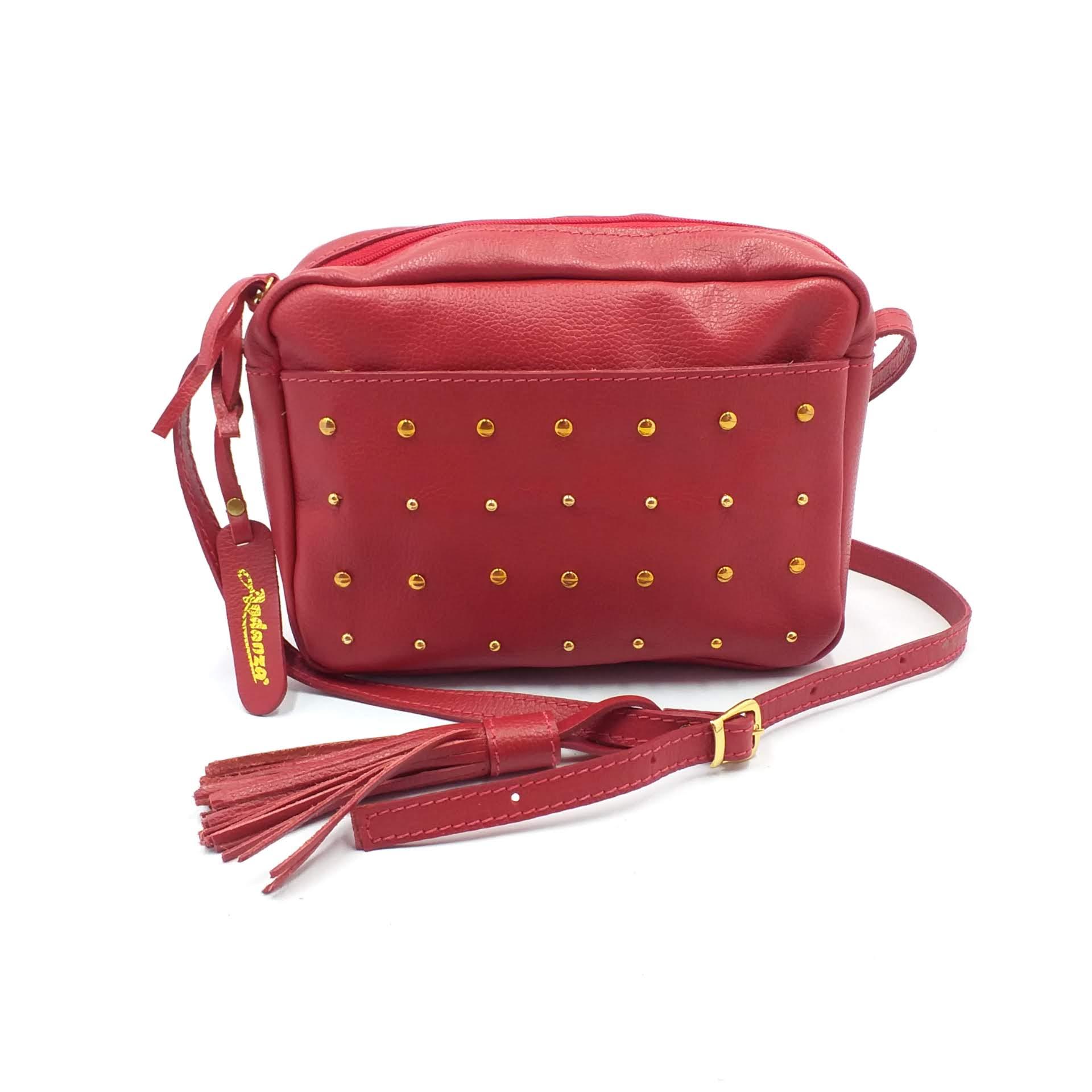 Bolsa de Couro Feminina Vermelha com Spikes
