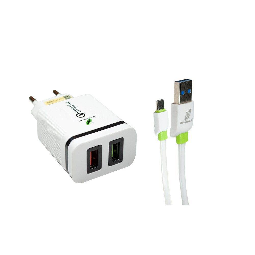 Carregador Ultra Rápido Qualcomm Quick Charge 4.0 C/ 2 USB + Cabo Tipo C - XC-UR-17 - X-Cell