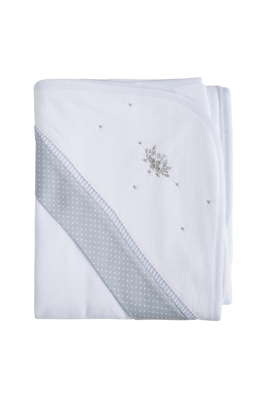 Toalha Babubô com Buquê de Flores Bordado e Barrado Cinza Poá Branco