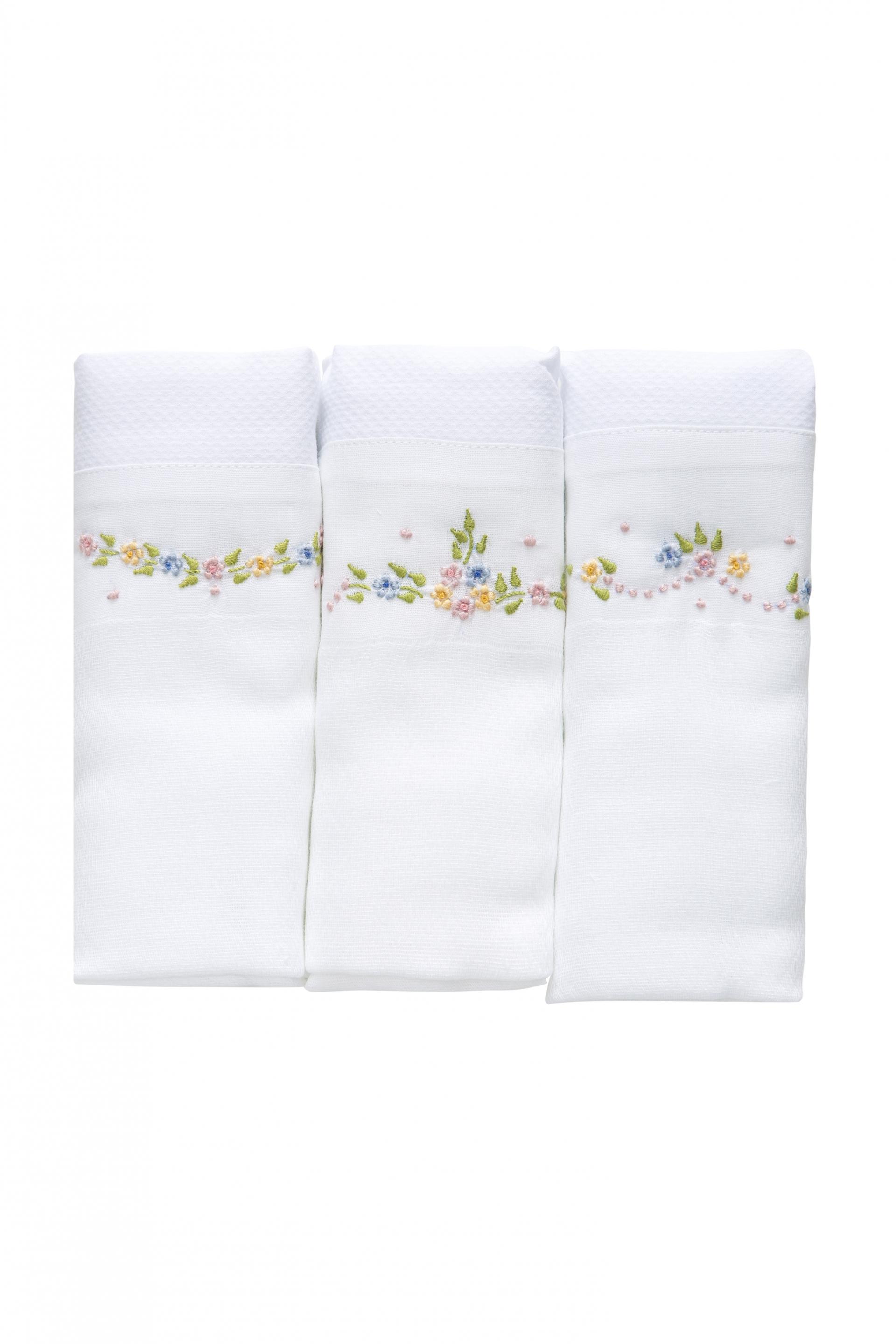 Trio de Ombro Babubô com Arco e Ramos de Flores Coloridas Bordados e Barrado Branco