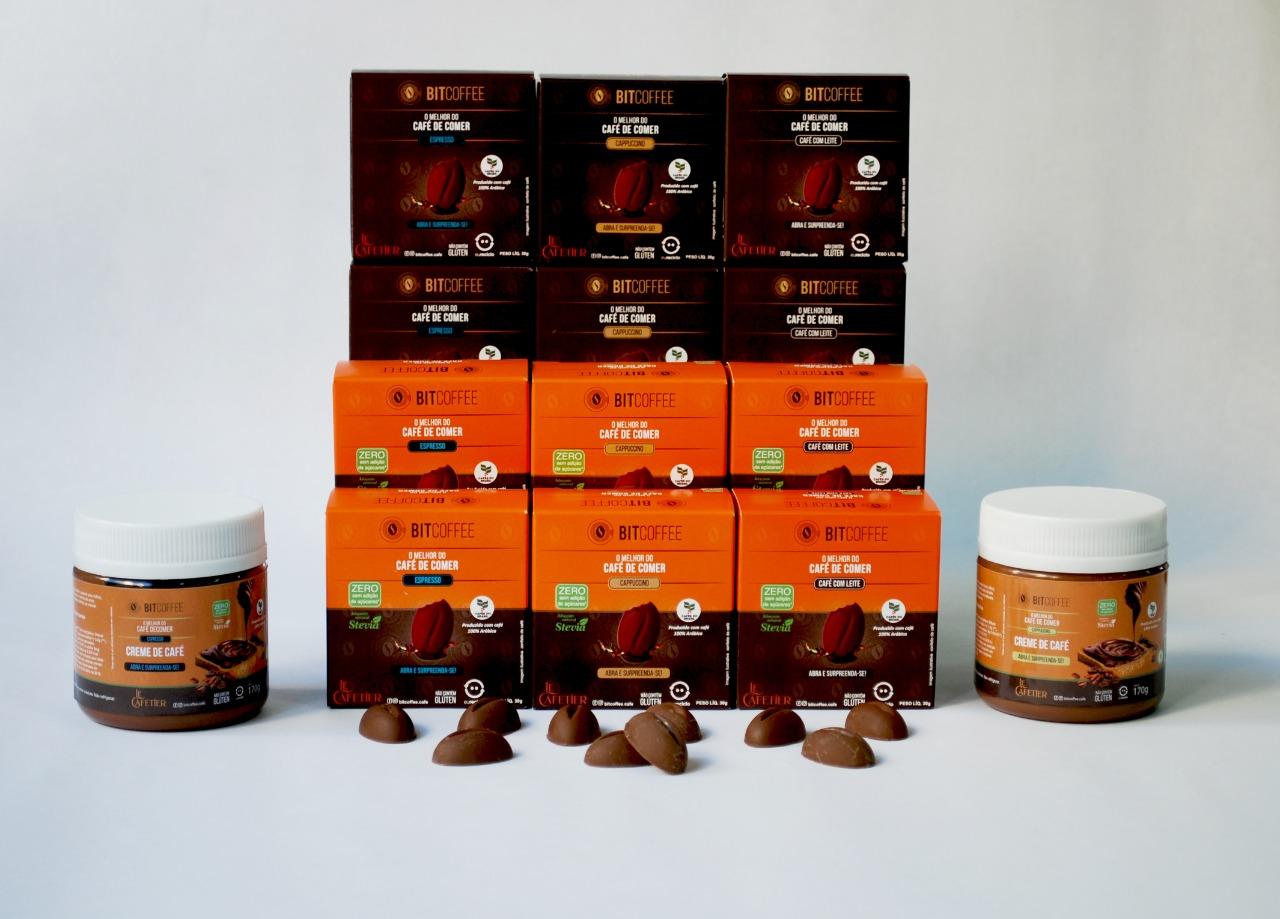 Combo BitCoffee Completo - 12 x Confeito de Café 30g (Sabores) + 2 x Creme de Café 170g