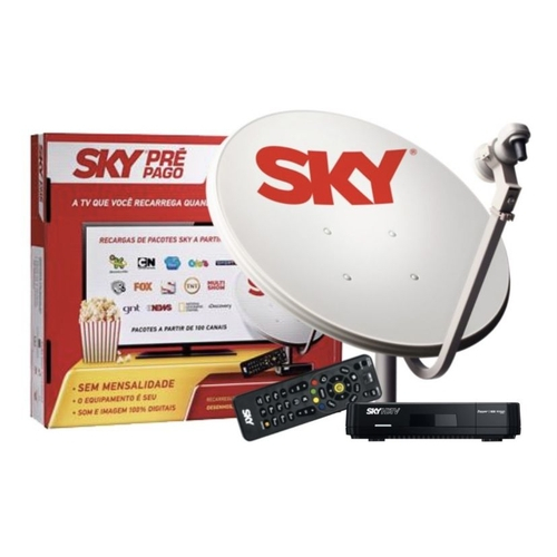 Kit de Antena Parabólica Sky 60 cm e Receptor Digital Sky Pré Pago Flex HD