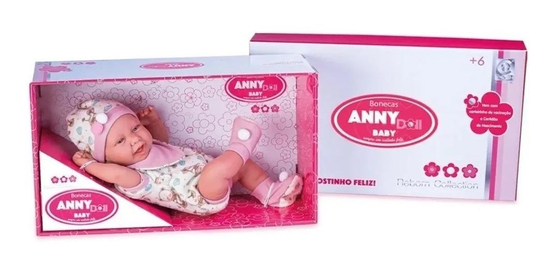 Boneca Anny Dolls Reborn Menina Macacão - Cotiplas