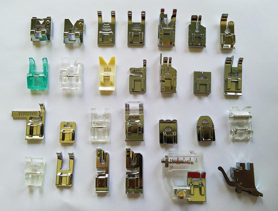 Kit calcador para Maquina de costura Vigorelli com 26 Calcadores Conjunto Sapatas Domesticos haste de brinde