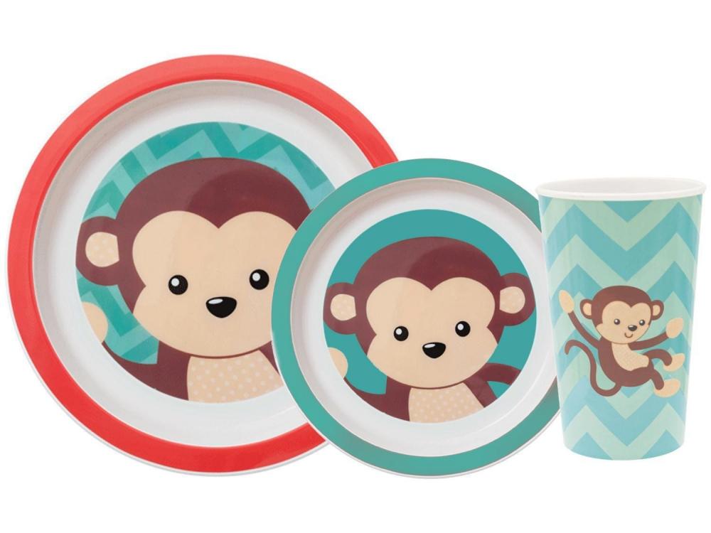 Kit Refeição 3 Peças Animal Fun Macaco - Buba
