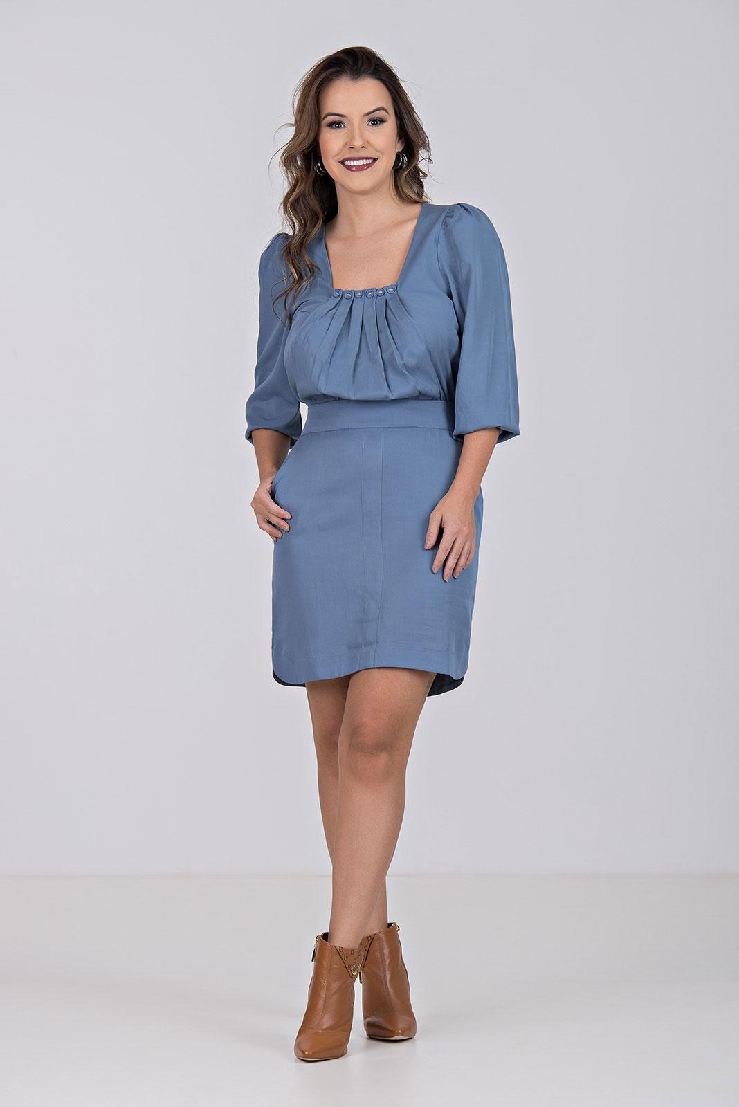 Vestido Kímika Curto Em Viscose Azul.