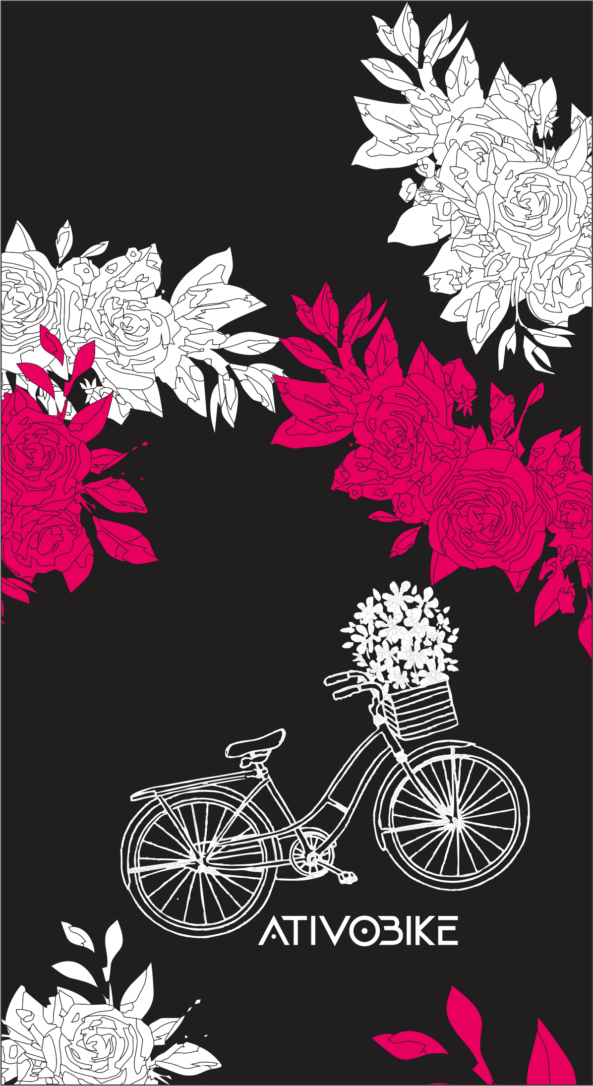 BANDANA TUBULAR CICLISMO ATIVOBIKE - ROSE FLOWERS