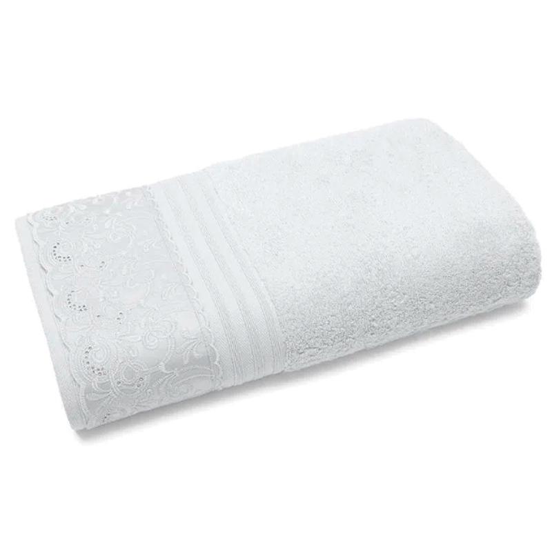 Toalha Banhão Buettner C/ Renda 81x150cm em Algodão Egípcio Clarys Branco