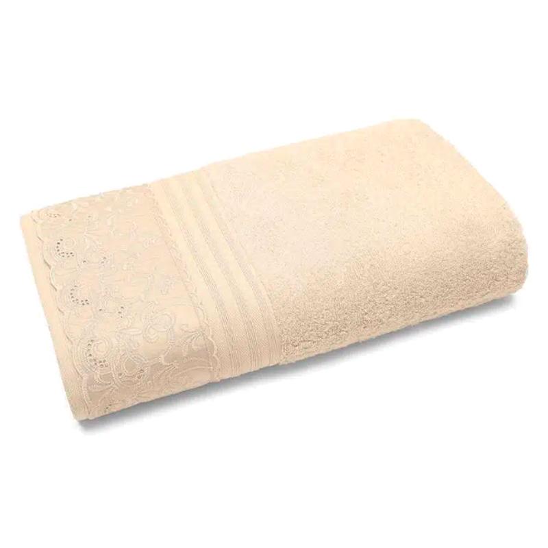 Toalha Banhão Buettner C/ Renda 81x150cm em Algodão Egípcio Clarys Perola