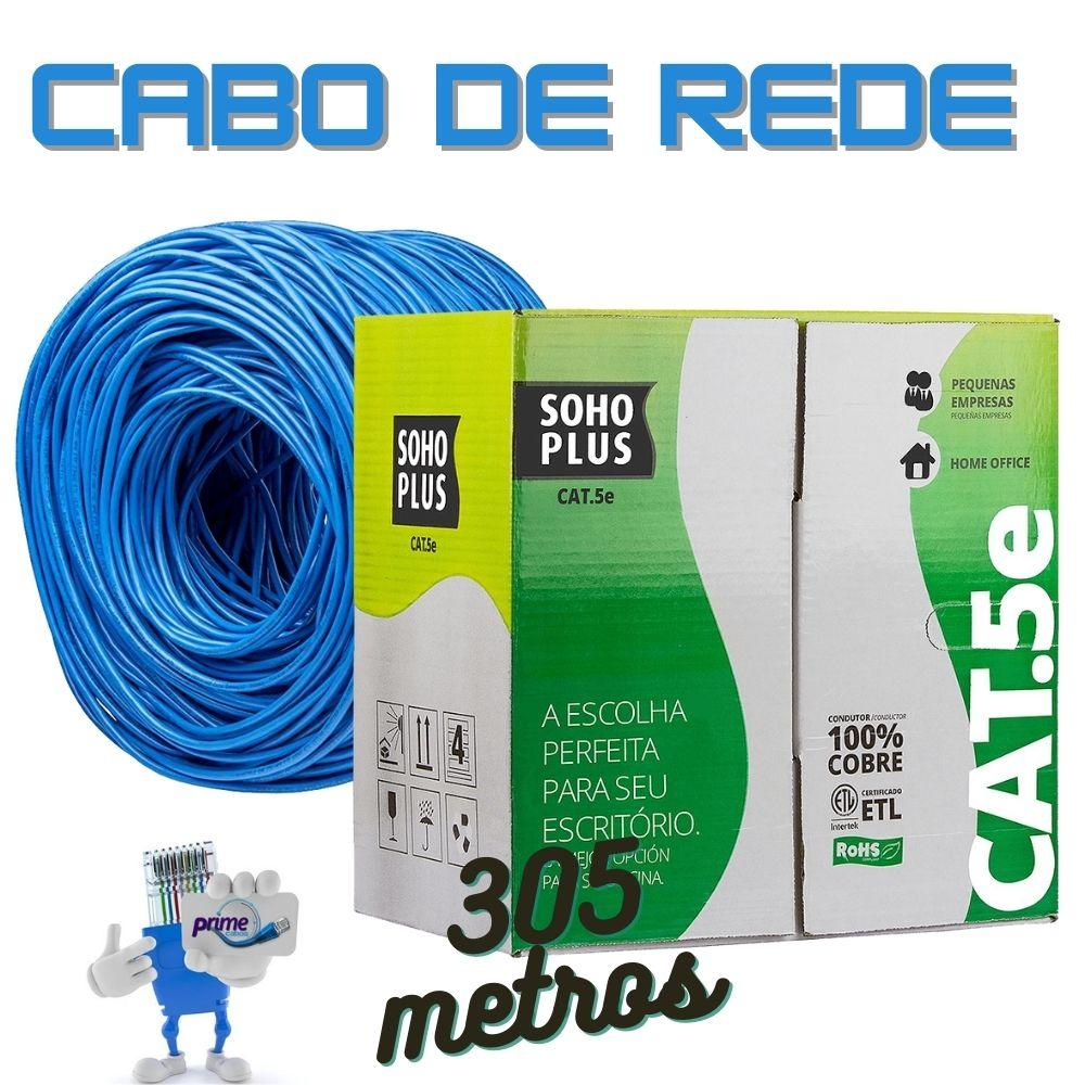 Cabo de Rede UTP 4P Cat.5e SohoPlus Furukawa Azul, Caixa 305 Metros