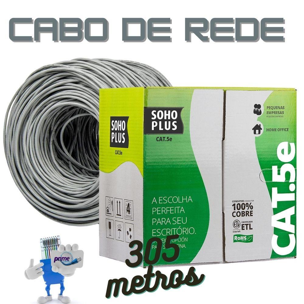 Cabo de Rede UTP 4P Cat.5e SohoPlus Furukawa Cinza, Caixa 305 Metros