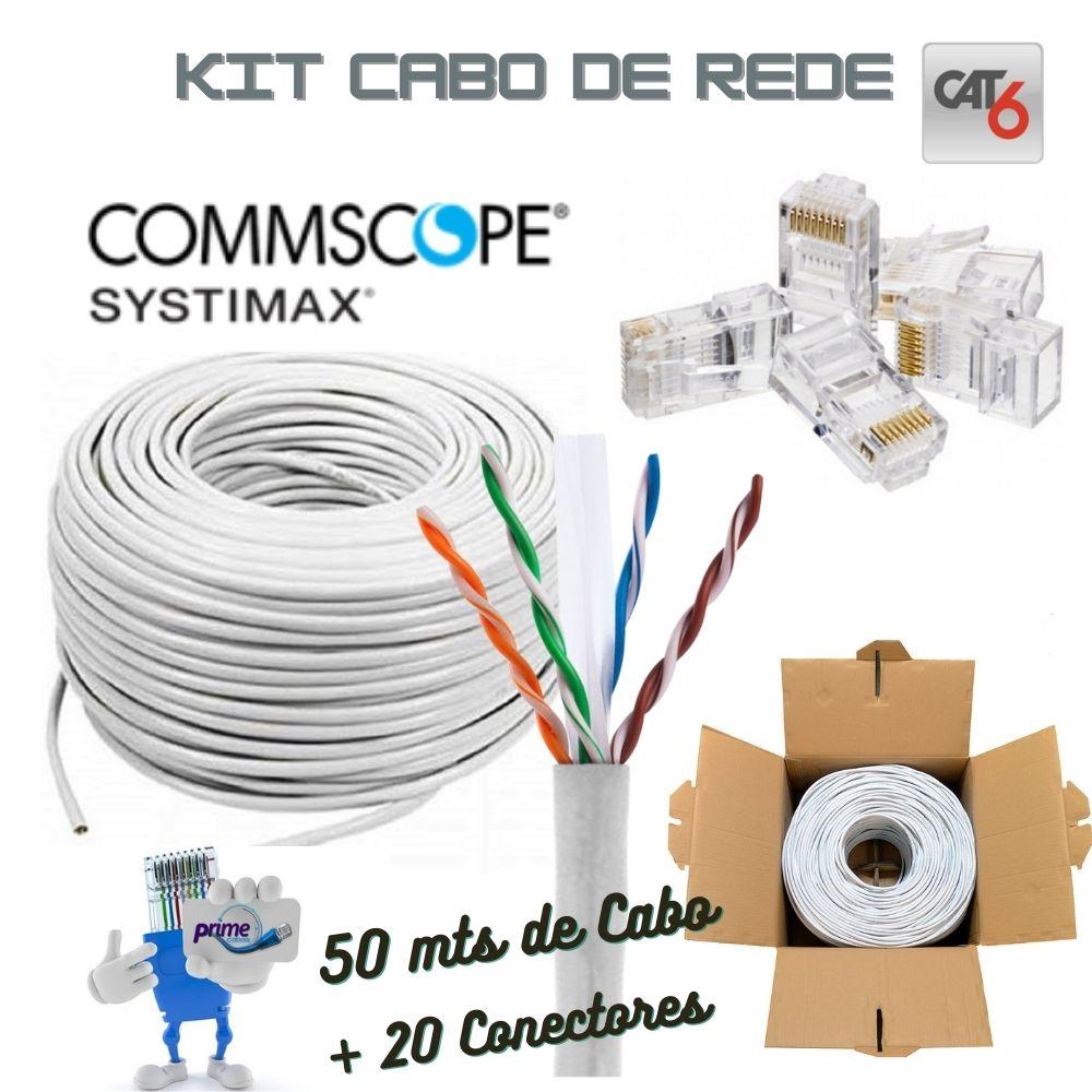KIT Cat.6 Cabo de Rede GigaSpeed Systimax 50 Metros com 20 Conectores