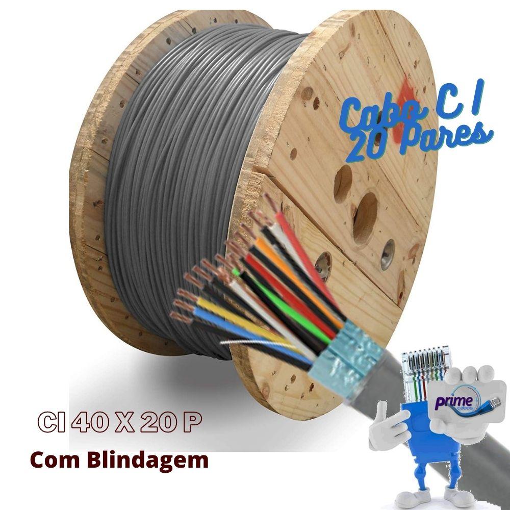 Cabo Telefônico Interno Blindado CI CIT CTI-PE 20 Pares 40X20