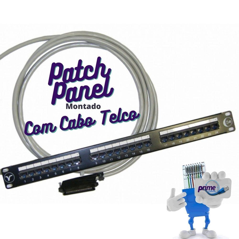Patch Panel 24 Portas Montado com Cabo e Conector Telco Macho