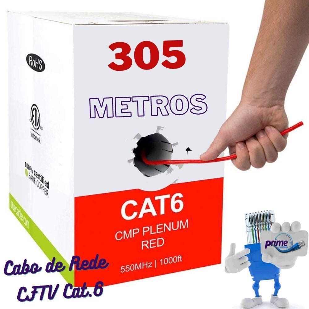 Cabo De Rede e CFTV Cat.6 Vermelho  305 Metros