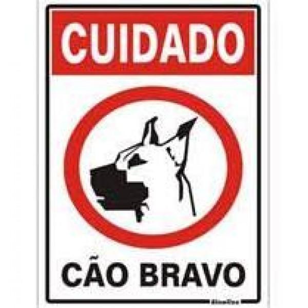 Placa Cuidado Cão Bravo 20x30cm